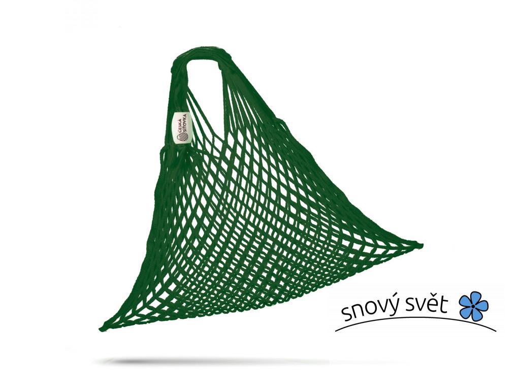 SÍŤOVÁ TAŠKA - BAVLNĚNÁ PRUŽNÁ - tmavě zelená - CS0011