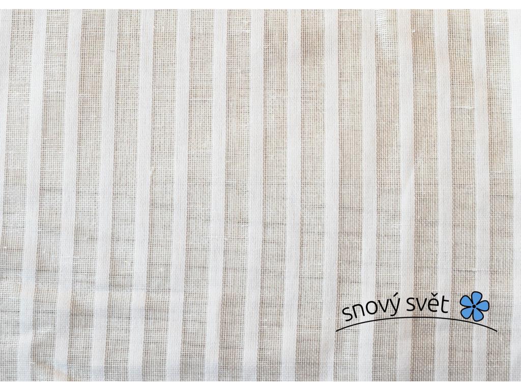 VZOREK - Lněné pruhy bílá záclonová - 50% len - BLX033_01