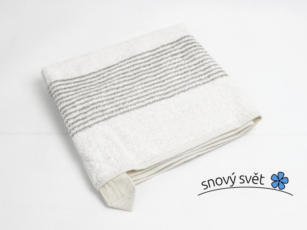 Lněný ručník měkký světlý proužek - LP0062_01