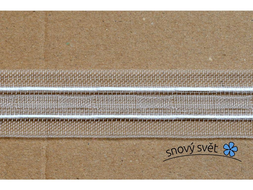 Záclonovka - tužkové řasení, transparentní, 25 mm - VT0004