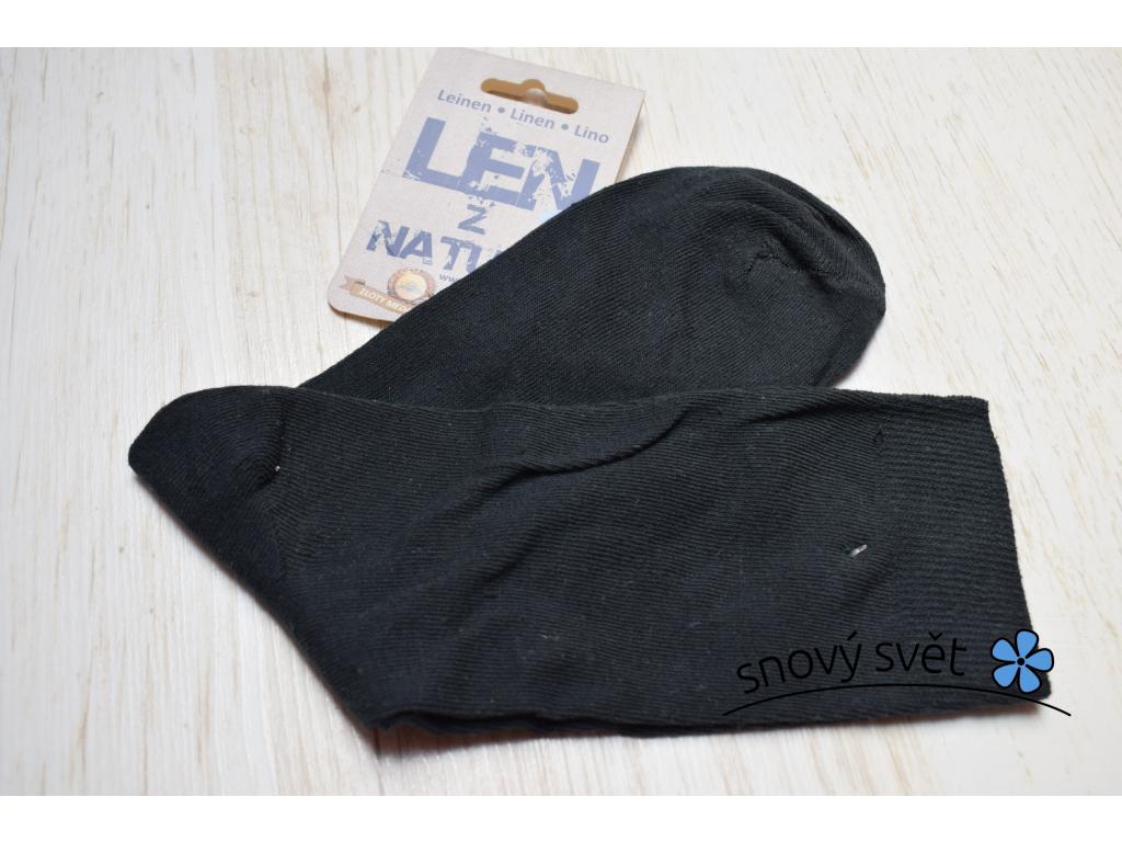 Ponožky lněné hladké černé - LP0020_02
