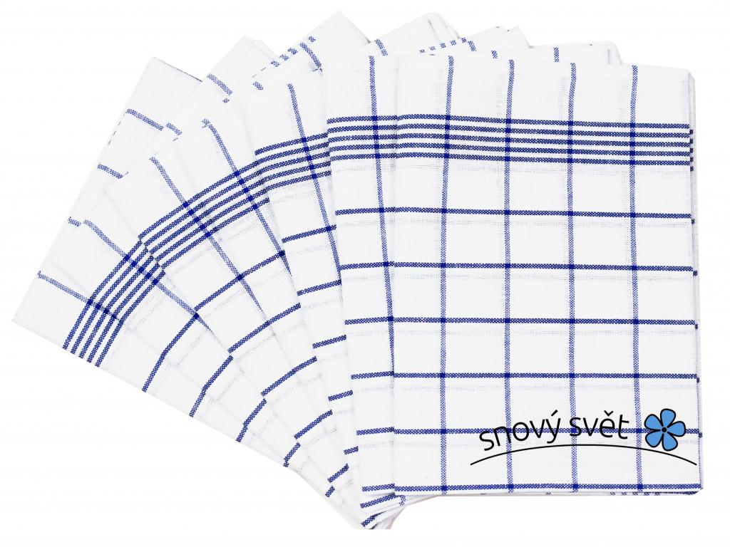 Lněná utěrka modrá klasika - 7 kusů - FLS006