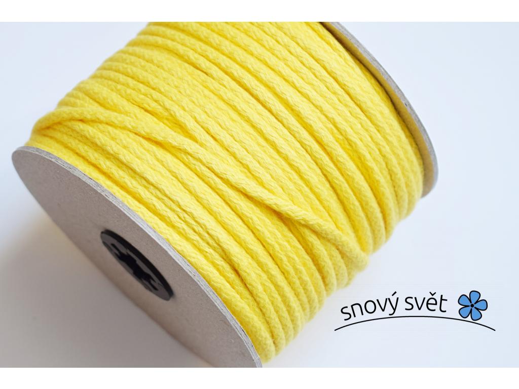 Bavlněná šňůra s jádrem - žlutá - VM0002