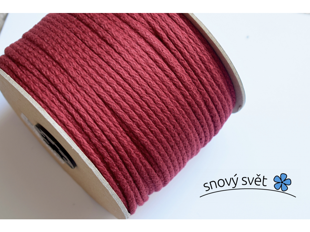 Bavlněná šňůra s jádrem - červená - VM0003