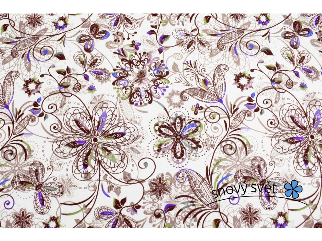 VZOREK - Lněná látka motýlí louka - BLX038_01