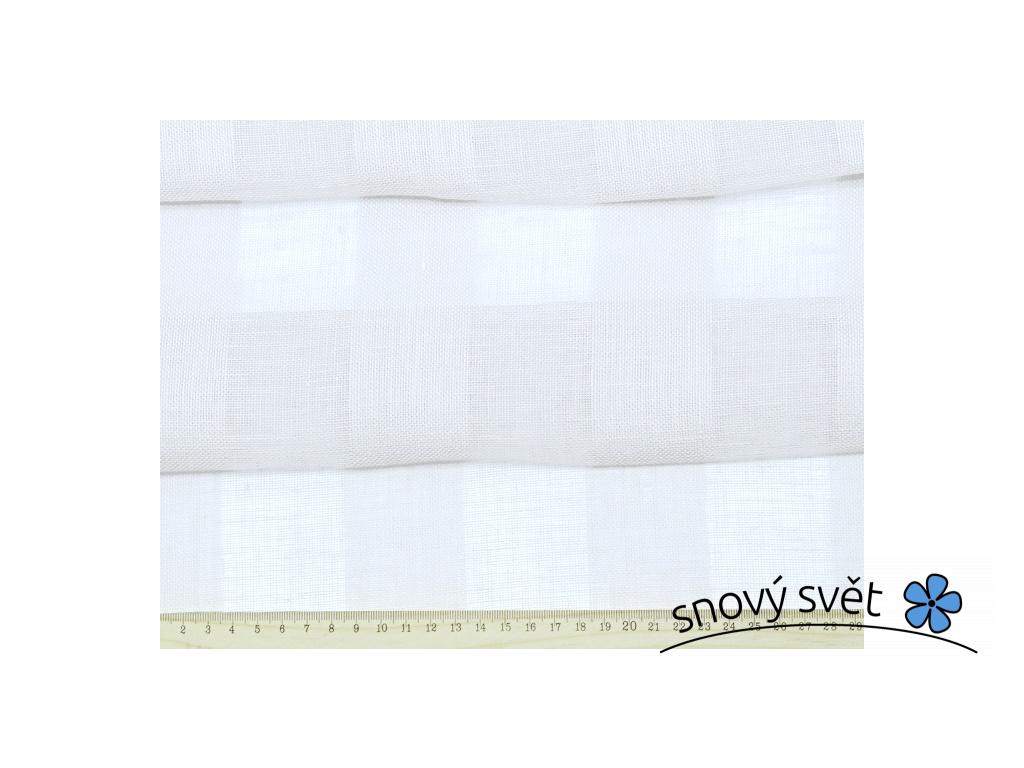 VZOREK - Bílé záclonové pruhy - 100% len - BLX043_01