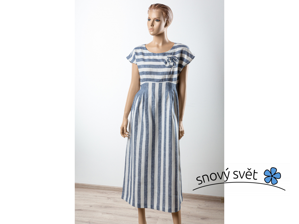 Lněné šaty Anna - modrá - BL0136_46