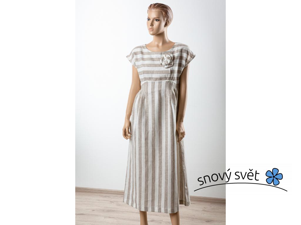 Lněné šaty Anna - přírodní - BL0137_46