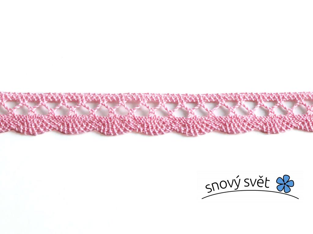 Paličkovaná krajka bavlněná světle růžová TK0019-18mm - TK0019