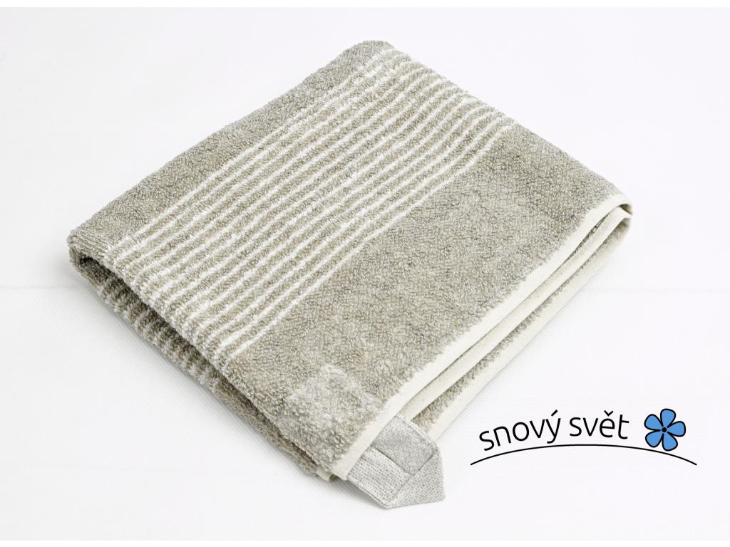 Lněný ručník měkký tmavý proužek - LP0064