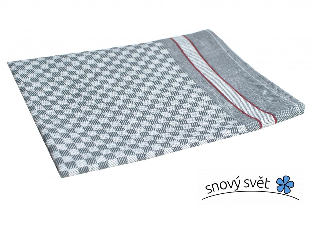 KARO šedá - lněná utěrka - LM0022_01