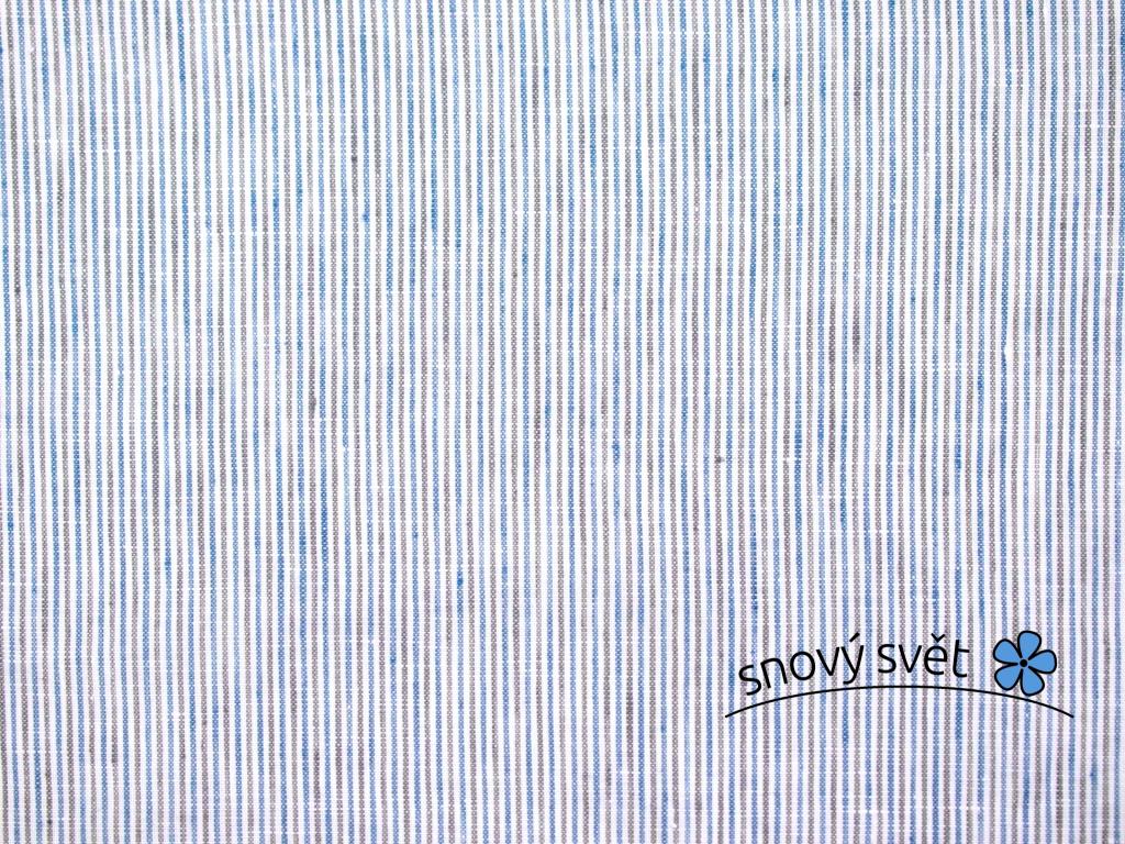 VZOREK - Agáta modro-černý proužek - lněná látka měkčená - BLX053_01