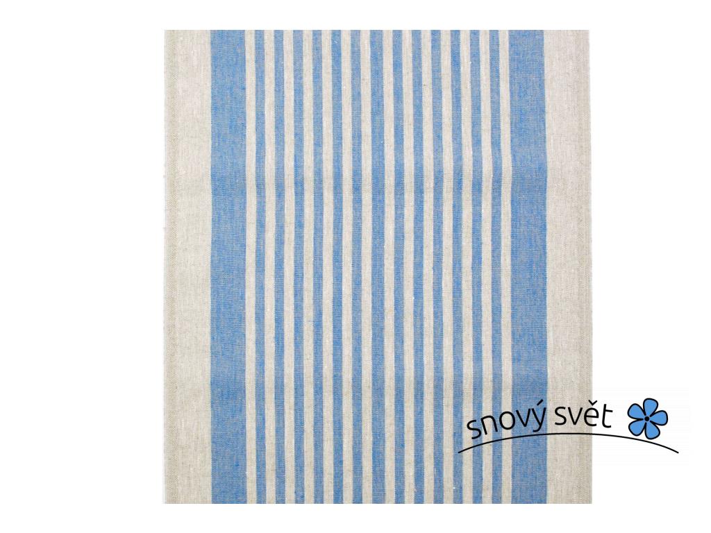 VZOREK - Kréta modrá - lněná látka - BLX055_01