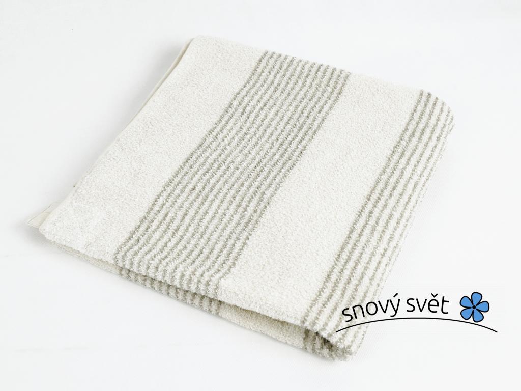 Lněný ručník masážní světlý proužek - LP0070