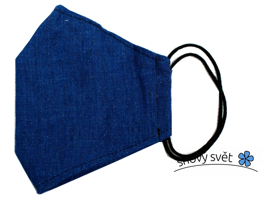 Modrá - lněná rouška - SS0209