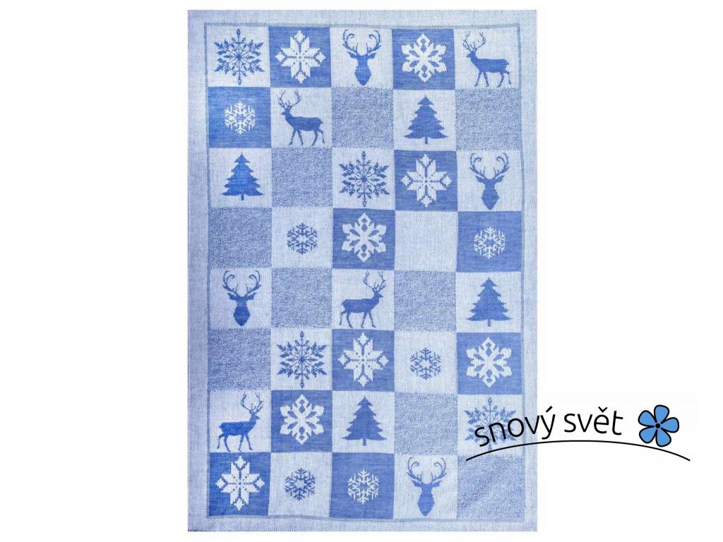 Vánoční čas modrý - lněná utěrka - BL0169