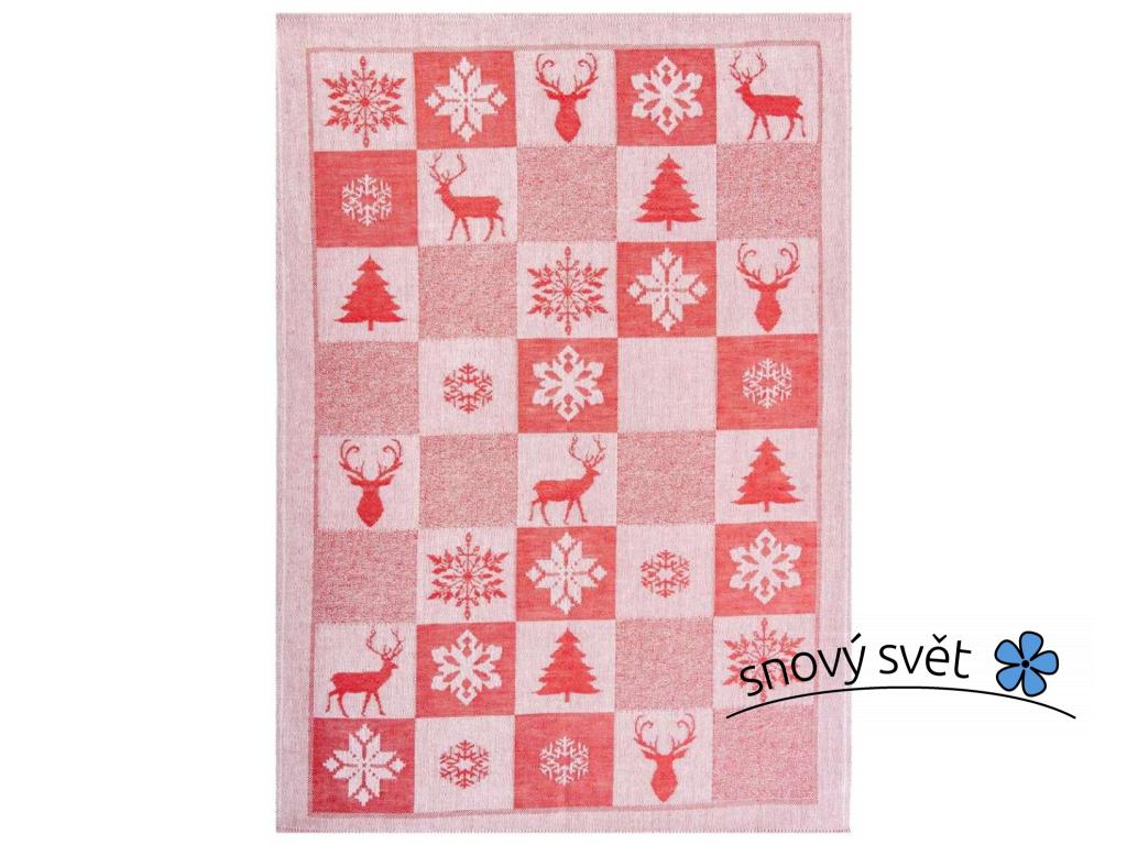 Vánoční čas červený - lněná utěrka - BL0170