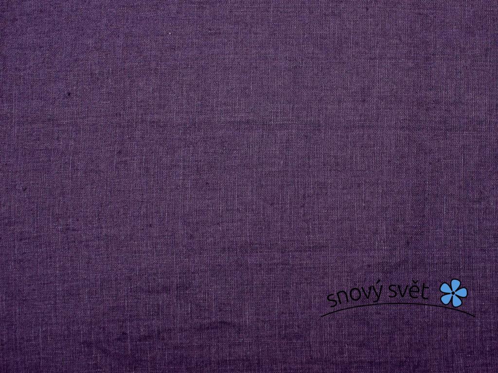 VZOREK - Lněná látka měkčená tmavě fialová - CNX030_01