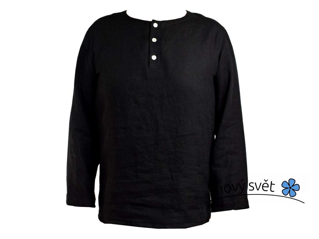 Daja lněná košile černá - dlouhý rukáv - SS0243_XXL