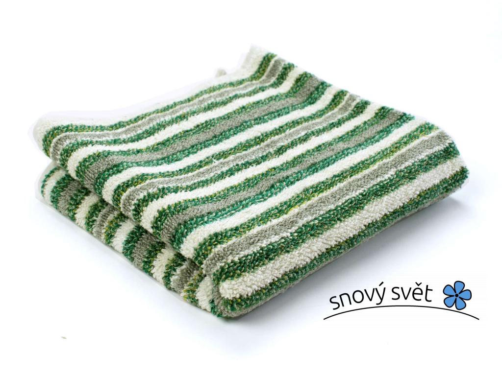Lněný ručník měkký Zelený pruh - LP0082