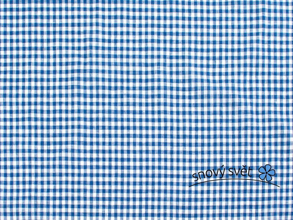 VZOREK - Lněná látka tmavě modrá kostka tenká - BLX063_01