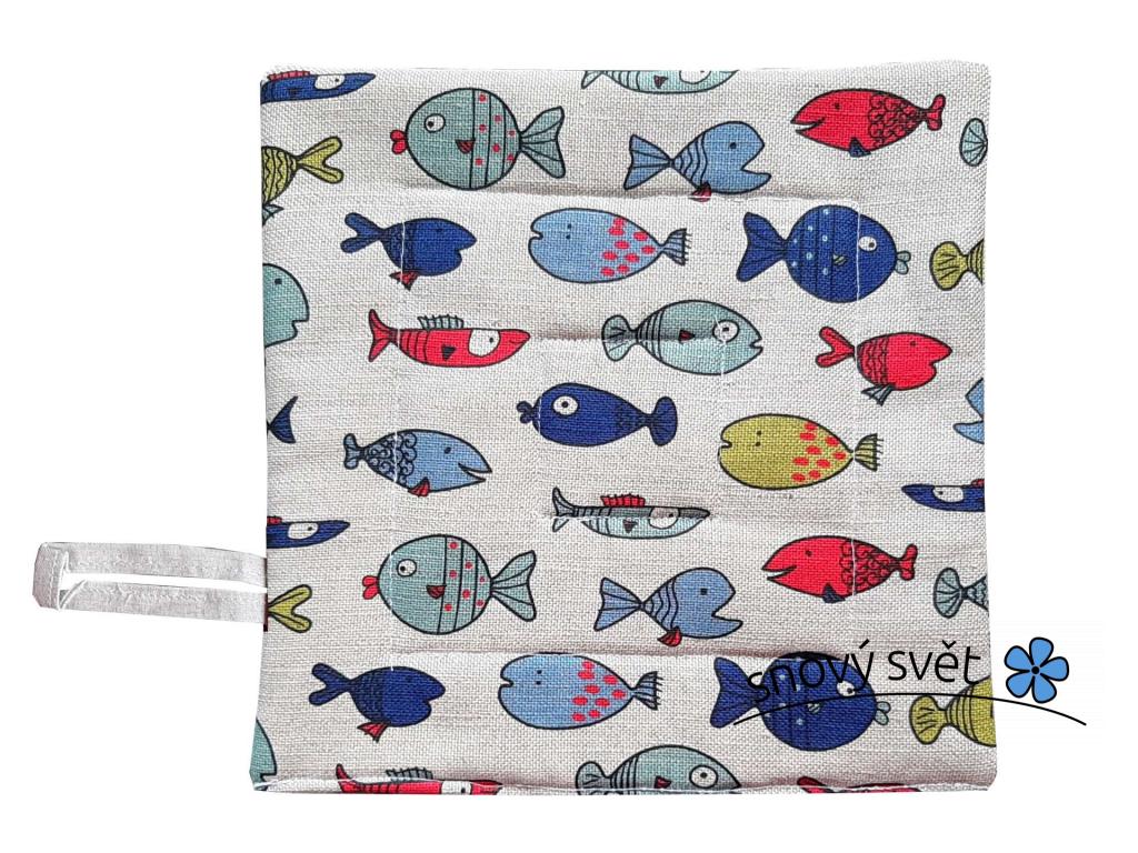 Lněná chňapka s rybičkami - SS0252
