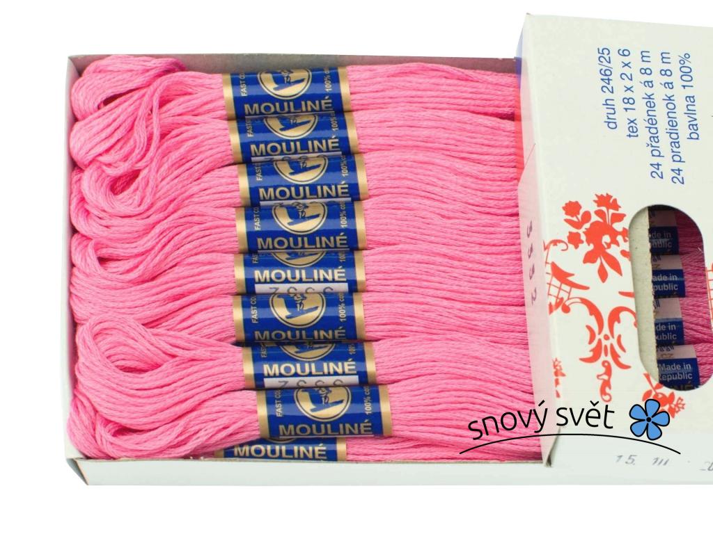 Bavlněná vyšívací příze Mouline růžová (3332) - CT0016