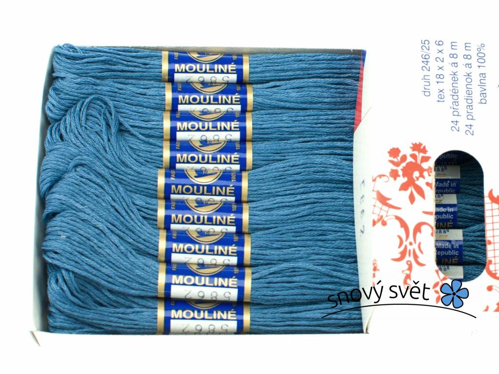 Bavlněná vyšívací příze Mouline ocelová modř (5862) - CT0045