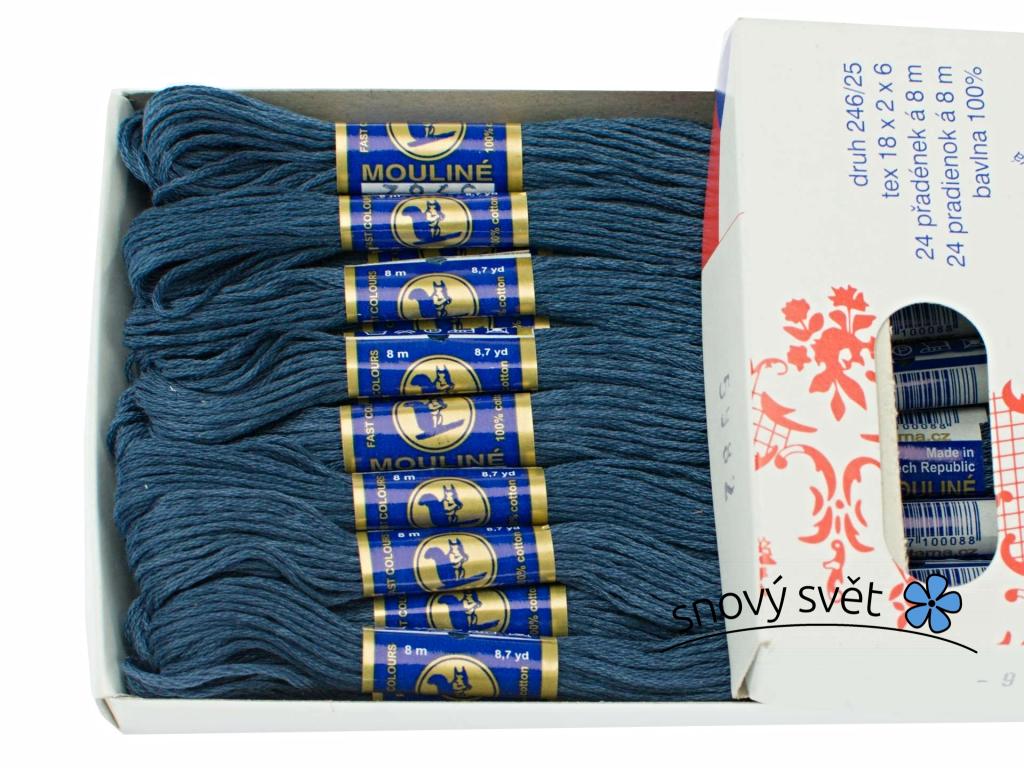 Bavlněná vyšívací příze Mouline modročerná (5982) - CT0047