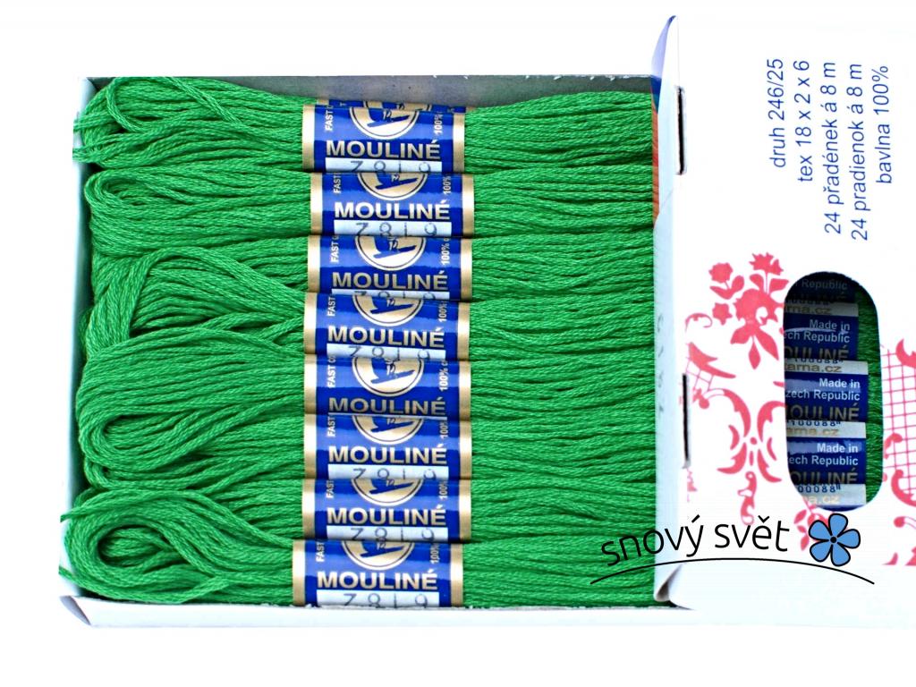 Bavlněná vyšívací příze Mouline trávová zeleň (6182) - CT0049