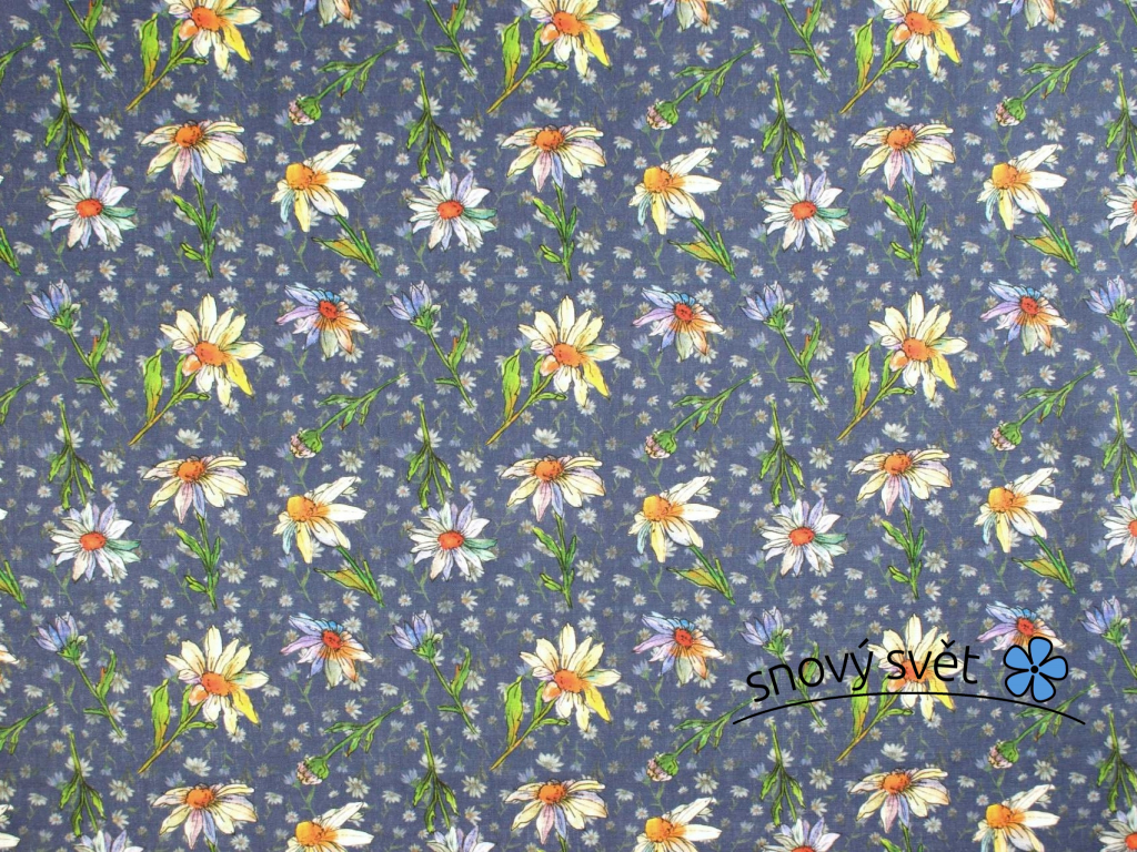 Lněná látka fialová s kopretinou - BLX066