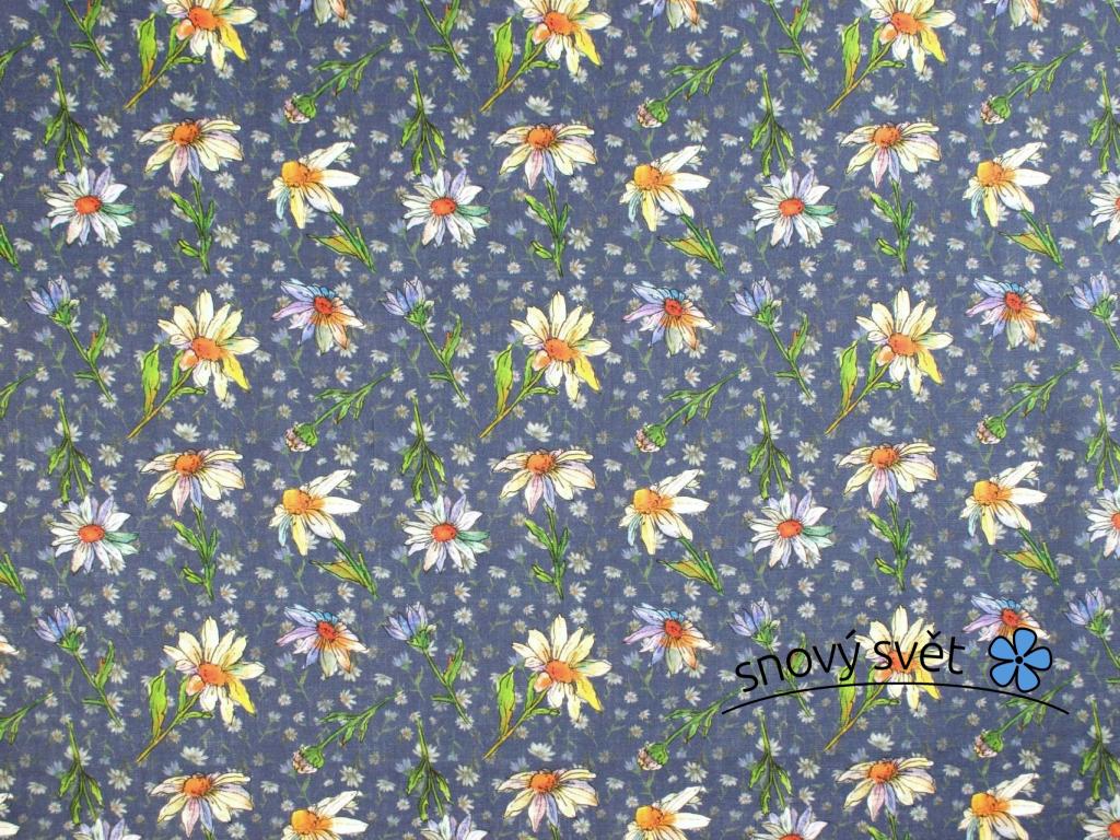 VZOREK - Lněná látka fialová s kopretinou - BLX066_01