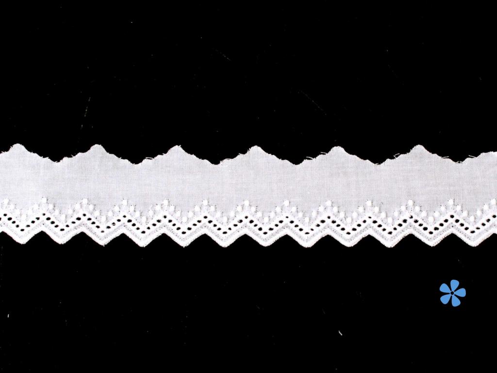 Vyšívaná krajka bavlněná bílá TK0042-28mm - TK0042