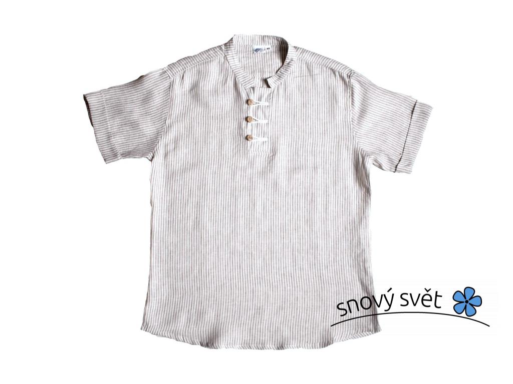 Lněná košile Emilis - krátký rukáv - LI0001_50