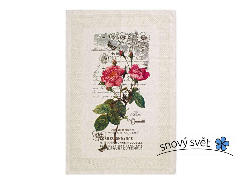 Růže - lněná utěrka - BL0184