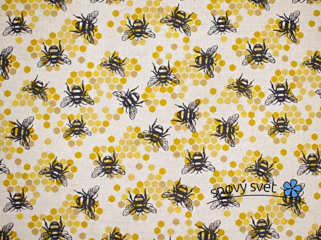 Včely - lněná látka 240g/m2 - LIX030