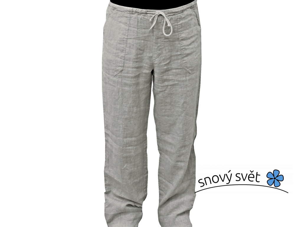 Lněné kalhoty přírodní melír UNI - 190g/m2 - BL0188_56