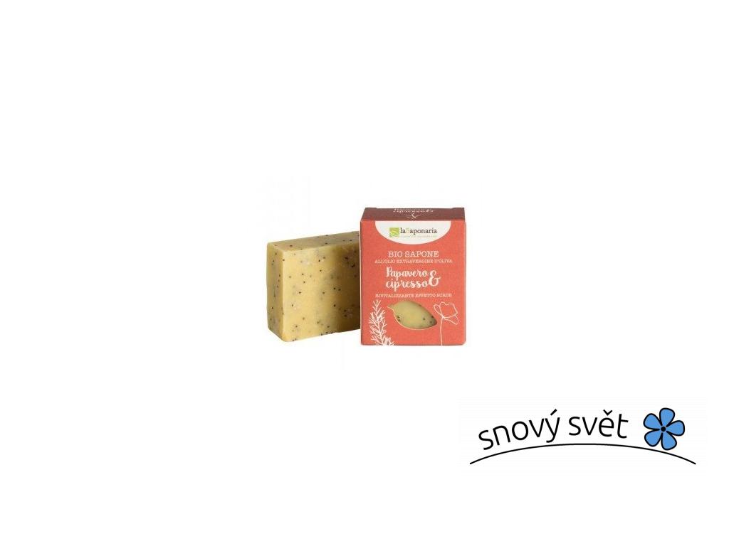 laSaponaria Tuhé olivové mýdlo BIO - Mák a cypřiš (100 g) - EN0007