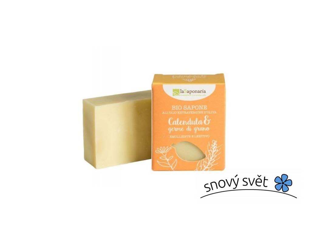 laSaponaria Tuhé olivové mýdlo BIO - Měsíček a pšeničné klíčky (100 g) - EN0008