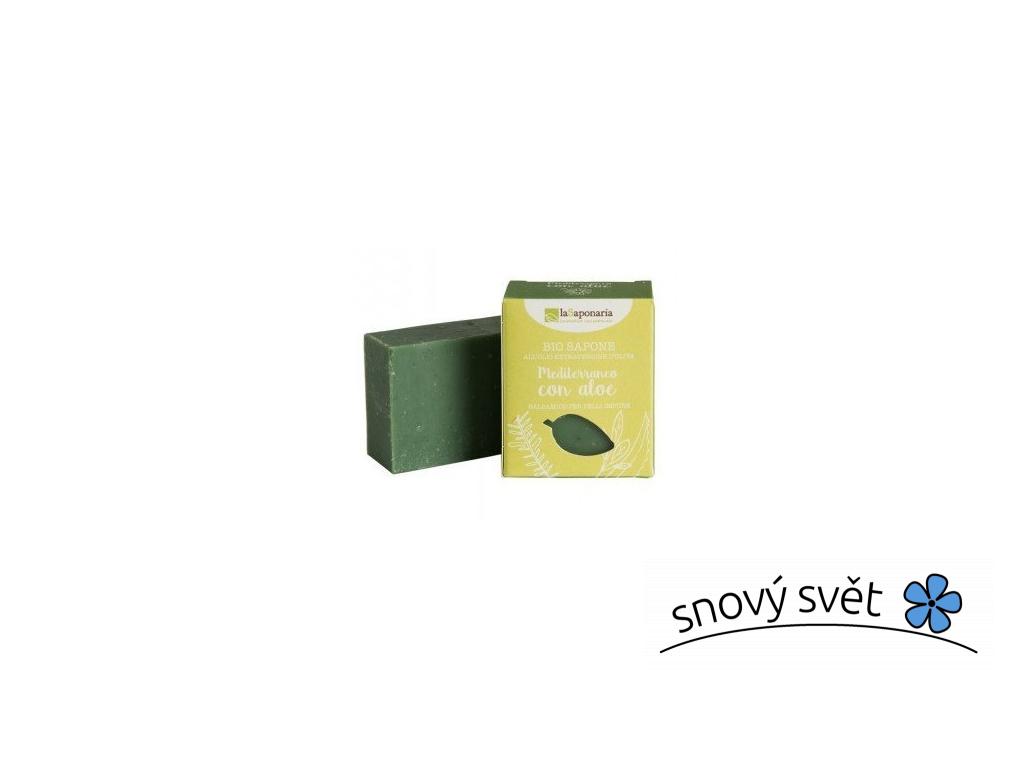 laSaponaria Tuhé olivové mýdlo BIO - Středomořské bylinky s aloe (100 g) - EN0011