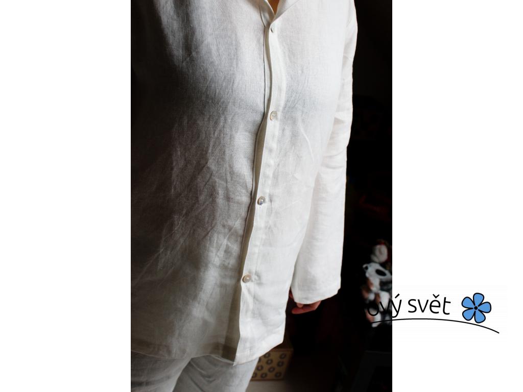 Lněné pyžamo bílé - SS0047_XL