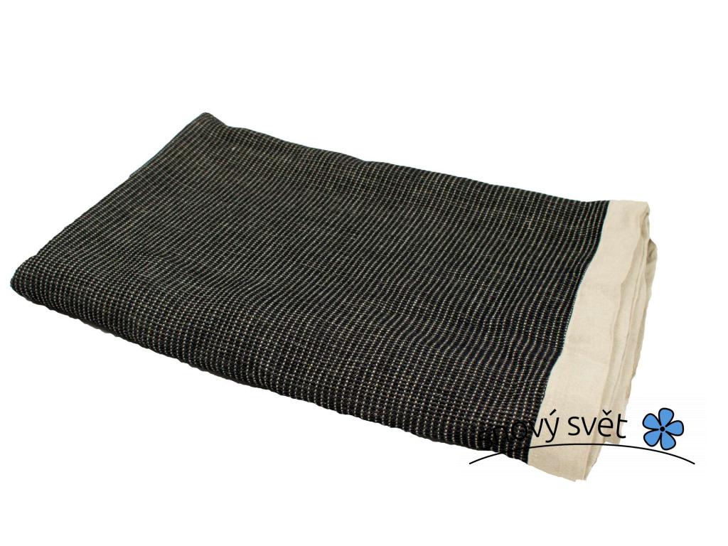 Černá vafle - lněný pléd - SS0278