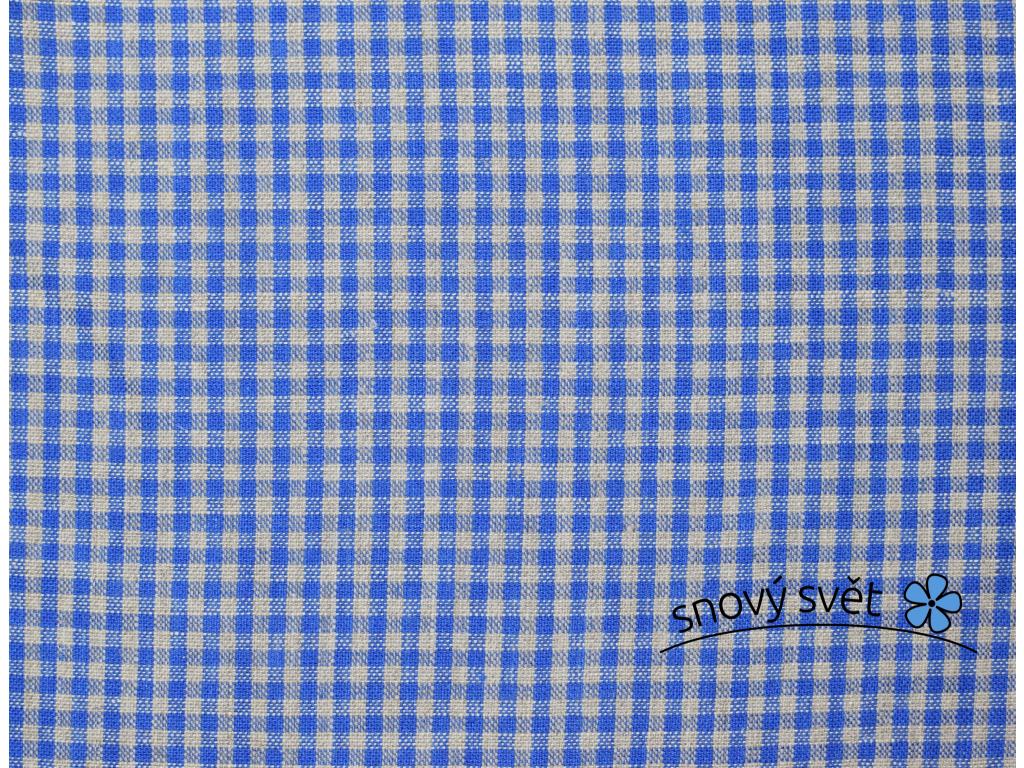 Lněná látka modrá kostka - LMX008