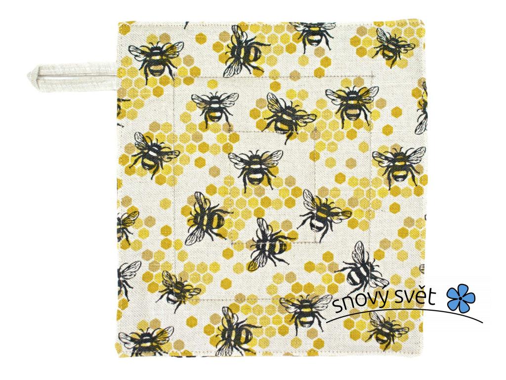 Lněná chňapka se včelami - SS0285