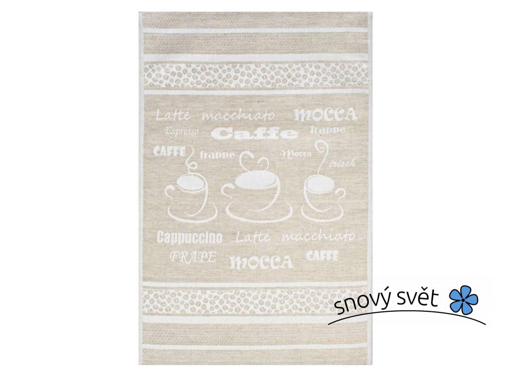 Caffe přírodní Exclusive - lněná utěrka - FL0024