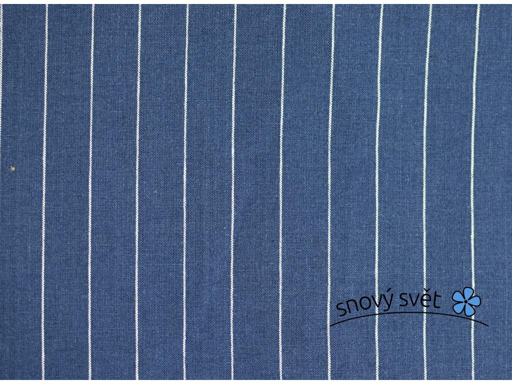 Lněná látka modré pruhy Tyrone - LMX020