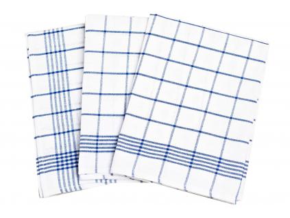 Lněná utěrka modrá klasika - 3 kusy - FLS004