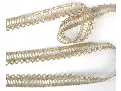 Paličkovaná krajka lněná přírodní TK0005-18mm - TK0005