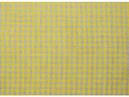 VZOREK - Lněná látka - žlutá kostka - LMX003_01