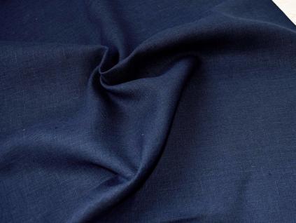 Lněná látka námořnická modrá - CNX021